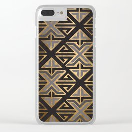 Art Deco Ornamental Grey Happiness Clear iPhone Case