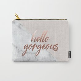 Hello Gorgeous, Rose Gold, Pink, Marble, Quote Carry-All Pouch