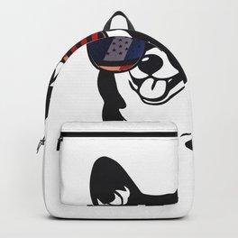 Merica Memorial Day Dog Funny American Flag Backpack