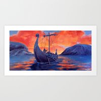 vikings Art Prints featuring Vikings by Danielle Miller