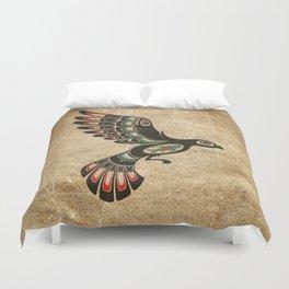 Red and Green Haida Spirit Flying Bird Duvet Cover