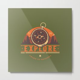 Compass Explore Metal Print