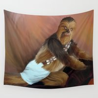chewbacca Wall Tapestries featuring Chewbacca and the Timeless Art of Seduction by Aquanaut