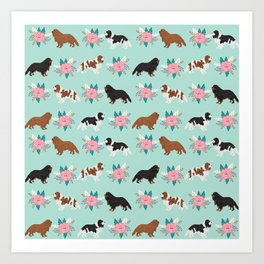 Cavalier King Charles Spaniel florals cute gift for dog lover custom pet portrait pet friendly dog Art Print