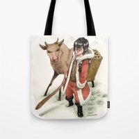 bouletcorp Tote Bags featuring Kid Santa by Bouletcorp