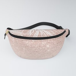 Modern tropical palm tree rose gold glitter ombre blush pink gradient Fanny Pack
