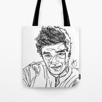 liam payne Tote Bags featuring Liam Payne by Hollie B