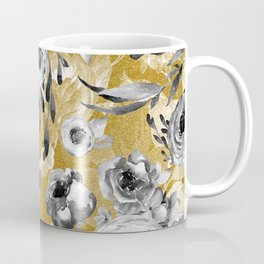 Black and white flowers with gold Coffee Mug