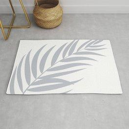 Light Pastel Gray White Coastal Frond Palm leaf Rug