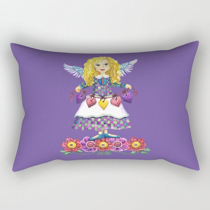 Angel Love (Purple) Rectangular Pillow