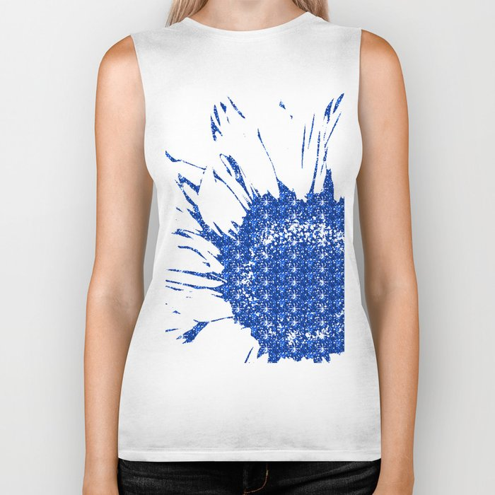 Sparkley Blue Flower Biker Tank
