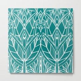 Turquoise Modern Leaves - blue white Metal Print