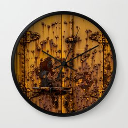 Rusting Yellow Boxcar Door Train Rolling Stock Railroad Texture Wall Clock