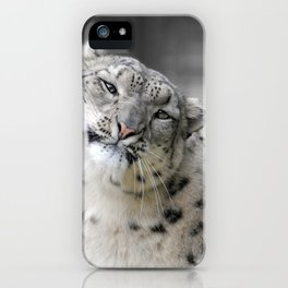 Leaning Snow Leopard iPhone Case