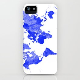 Blue watercolor world map iPhone Case