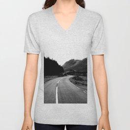 Road through the Glen - B/W Unisex V-Neck