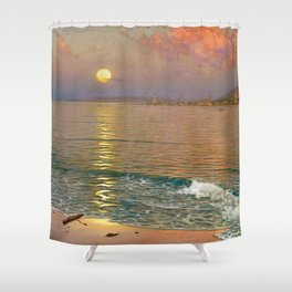 Dusk over the Coast with Lighthouse seascape nautical painting by Guillermo Gómez Gil  Shower Curtain