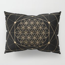 Flower of Life Black and Gold Pillow Sham