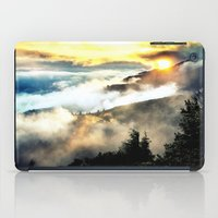 mountains iPad Cases featuring Sunrise mountains by 2sweet4words Designs