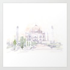 Watercolor landscape illustration_India - Taj Mahal Art Print