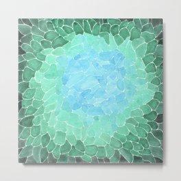 Watercolor Sea Glass Art Metal Print