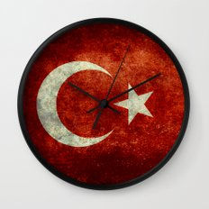National flag of Turkey, Distressed worn version Wall Clock