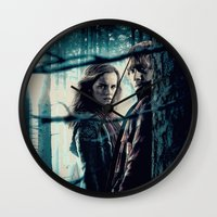 hermione Wall Clocks featuring H. Potter - Hermione & Ron by Juniper Vinetree