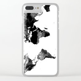 World Map  Black & White Clear iPhone Case