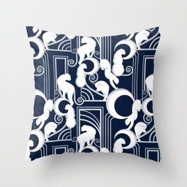 Deco Gatsby Panthers // navy and silver Throw Pillow