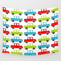cars Wall Tapestries featuring cars by laura mendoza v.