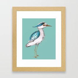 Funny blue heron Framed Art Print