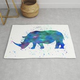Rhino in watercolor Rug