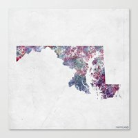 maryland Canvas Prints featuring Maryland map by MapMapMaps.Watercolors