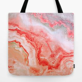 Luxury LIVING CORAL Agate Marble Geode Gem Tote Bag