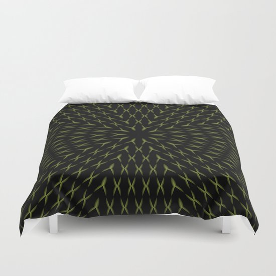 PCT2 Fractal in Yellow on Black Duvet Cover