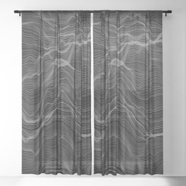Soft Peaks Black Sheer Curtain