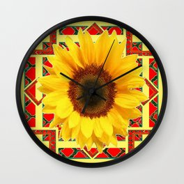 WESTERN RED ART DECO YELLOW SUNFLOWER ART Wall Clock