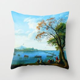 Caccia sul Fusaro Hunting Party by Jakob Philipp Hackert Throw Pillow