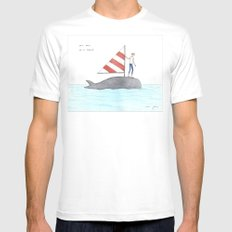 set sail on a whale LARGE White Mens Fitted Tee