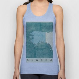 Alaska State Map Blue Vintage Unisex Tank Top