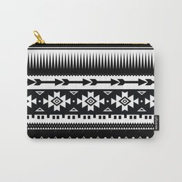 Aztec Pattern Black and White Carry-All Pouch