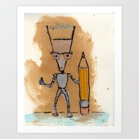 novelty Art Prints featuring Lil' Dorkbot and the Novelty Pencil by Taylor Winder