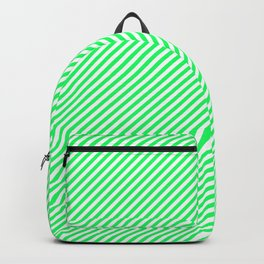 Lanai Lime Green - Acid Green and White Candy Cane Stripe Backpack