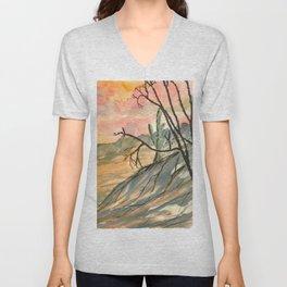 Southwestern Art Desert Painting Unisex V-Neck