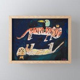 Tiger, Cheetah, Toucan Painting Framed Mini Art Print
