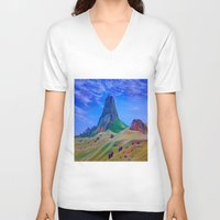mountain V-neck T-shirts featuring Mountain by ArtSchool