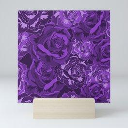 Flowers Rose Pattern Purple Roses Design Floral Decor Mini Art Print