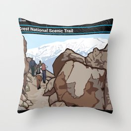 Vintage Poster - Pacific Crest National Historic Trail (2018) Throw Pillow