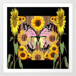 BLACK ABSTRACT PINK BUTTERFLY SUNFLOWER FLORAL Art Print