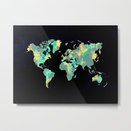 world map 87 green blue Metal Print